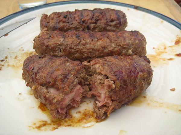 Cheese & Bacon Stuffed BBQ Burger Dogs