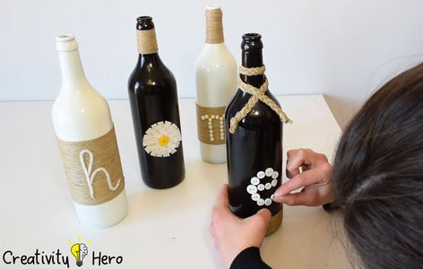 Creating the Letters. (Method 1: Wrapping Bottles With Twine)