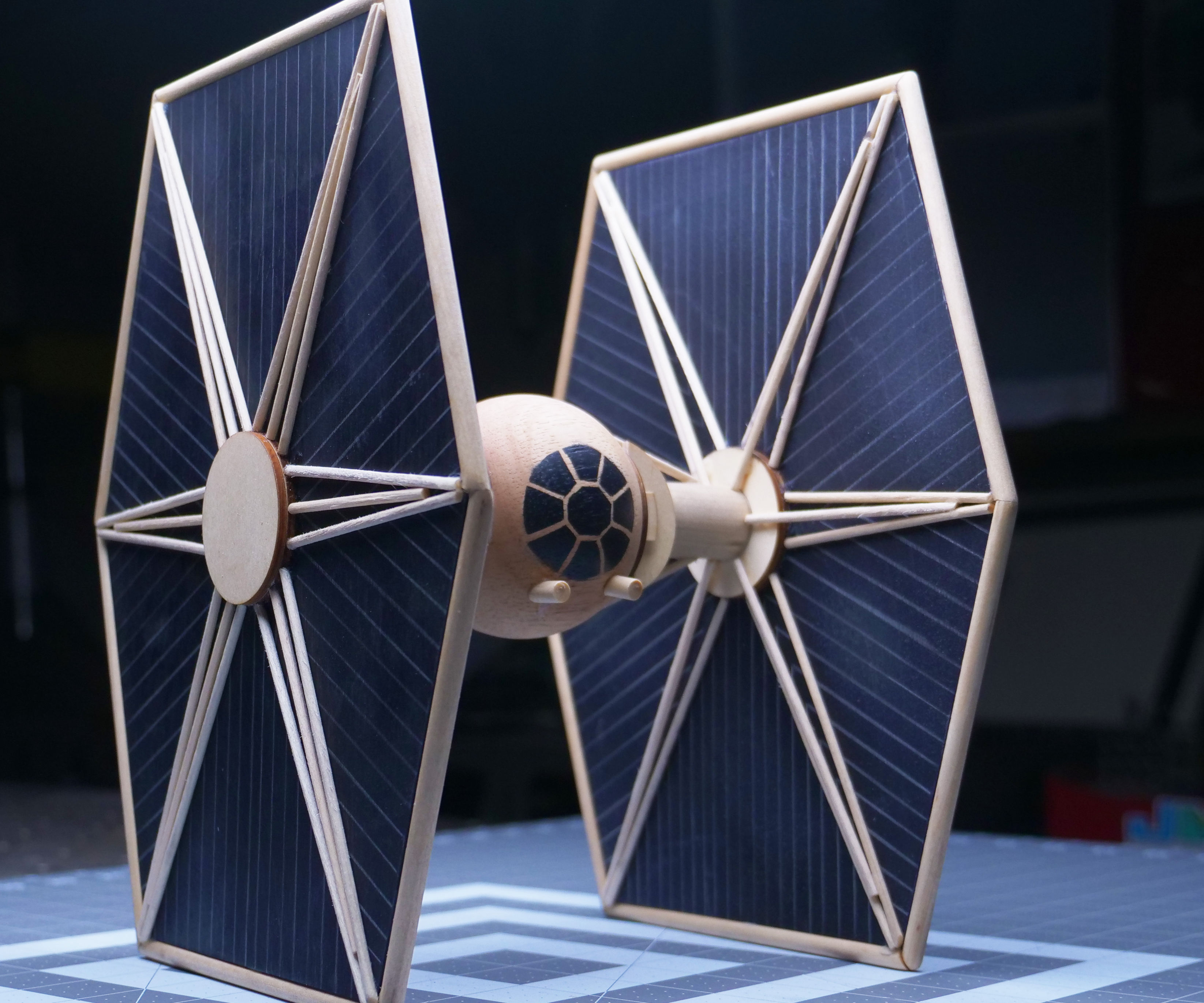 Wooden Tie Fighter Sculpture (Made With Hand Tools Only) Star Wars Model