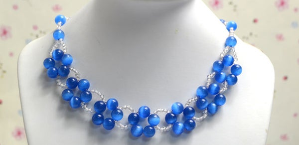 DIY a Simple Royal Blue Beaded Necklace