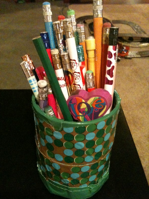 Pencil Holder Using Empty Duct Tape Rolls