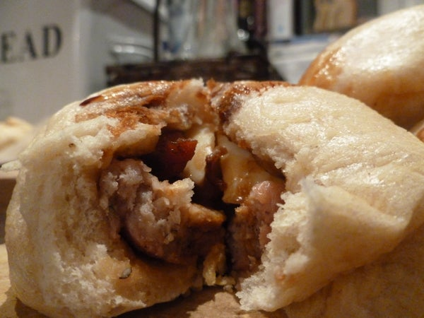 Breakfest Baozi (Bacon, Sausage and Eggs  Filling)