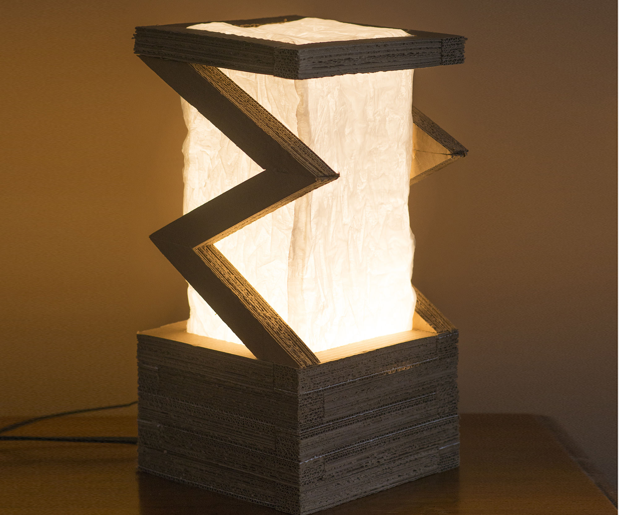 Lamp: Upcycled Corrugated and Plastic Bags