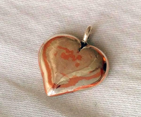 Mokume Gane Silver & Copper Heart Pendant