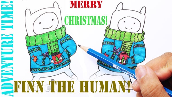 Learn to Draw Christmas Finn the Human From Adventure Time!