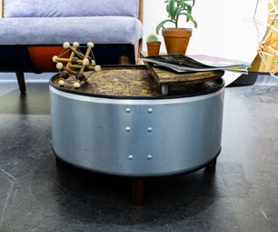 Oil Drum Coffee Table (Galvanized Oil Drum)