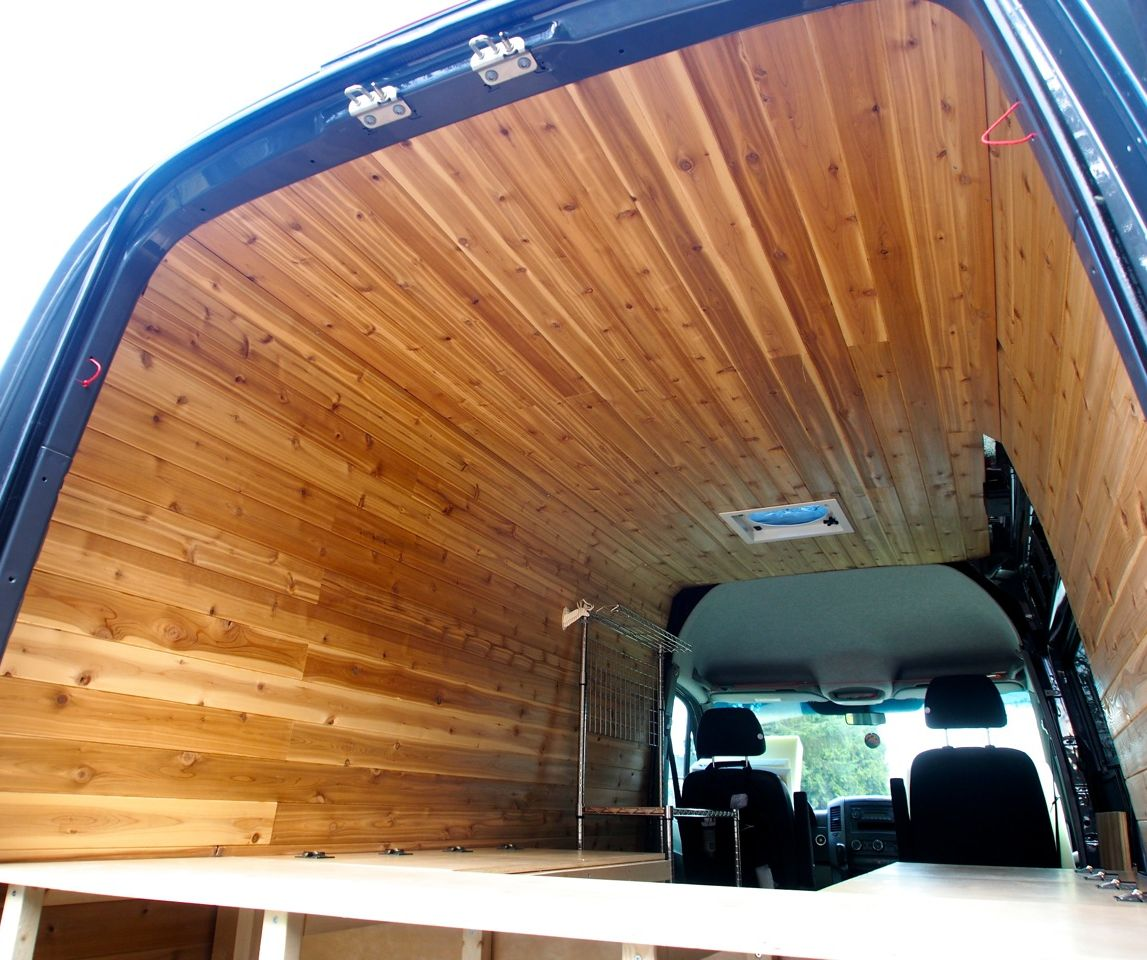 Cedar paneling for van interior