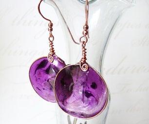 Purple Resin Wire Earrings