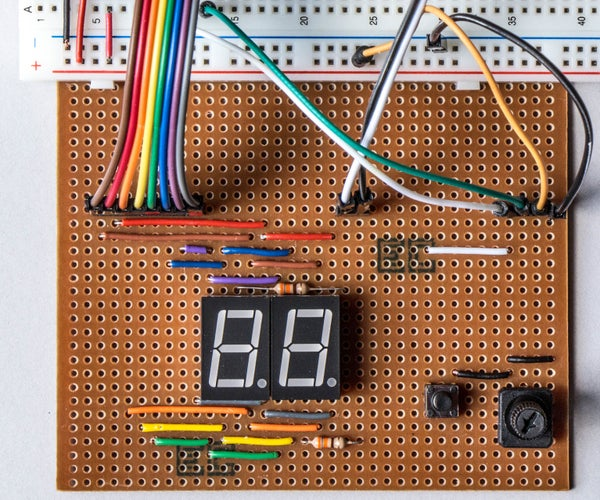 Dual 7-segment Displays Controlled by Potentiometer in CircuitPython - Demonstration of Persistence of Vision