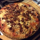 Home Made Pizza with Bacon, Mushroom and Onion