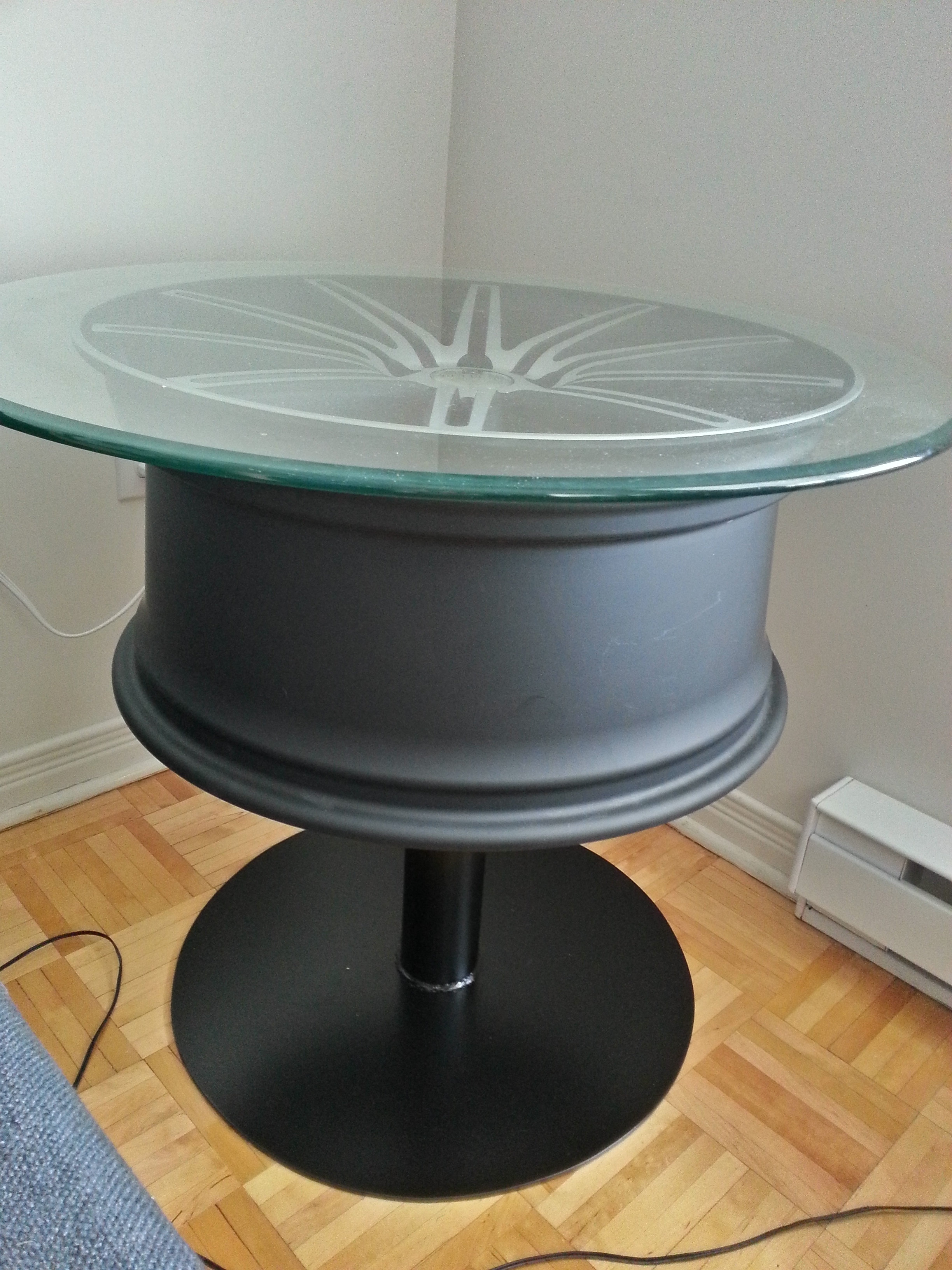 Coffee table out of a .... car wheel