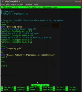 Modify Sudo Nano /etc/init.d/garagerelay