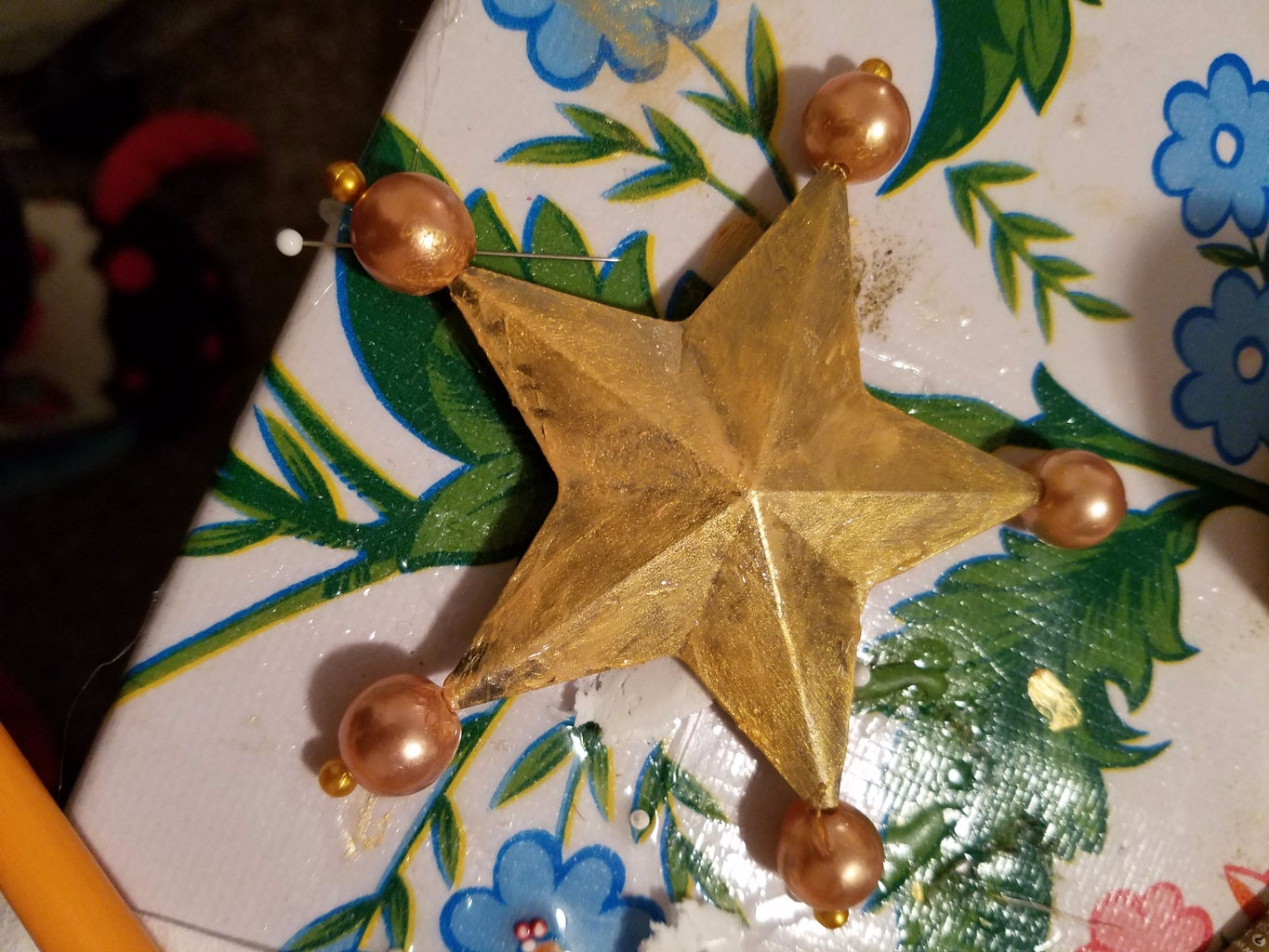 Put the Round Beads on the Star