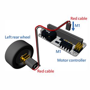 左後輪のギアモーターをモーターコントローラー (M1) に接続しましょう