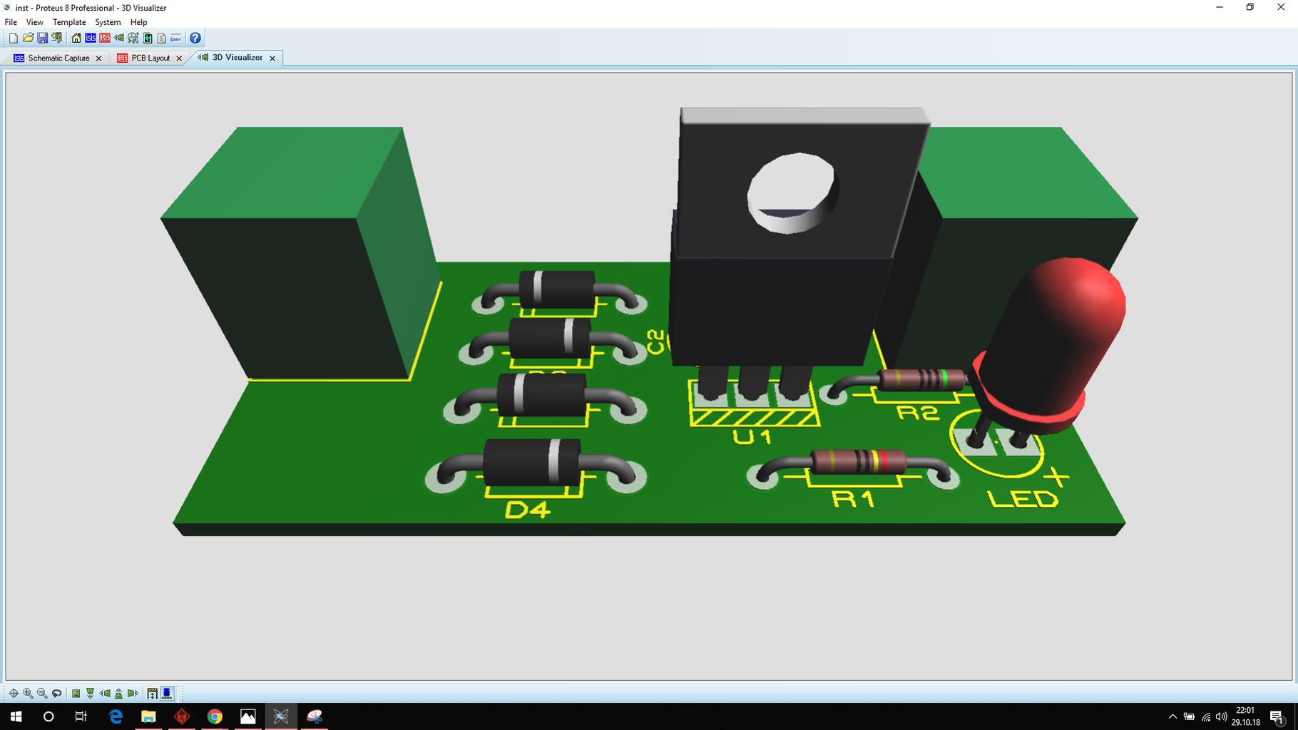 Simulating Designing of Circuits+PCB on Proteus