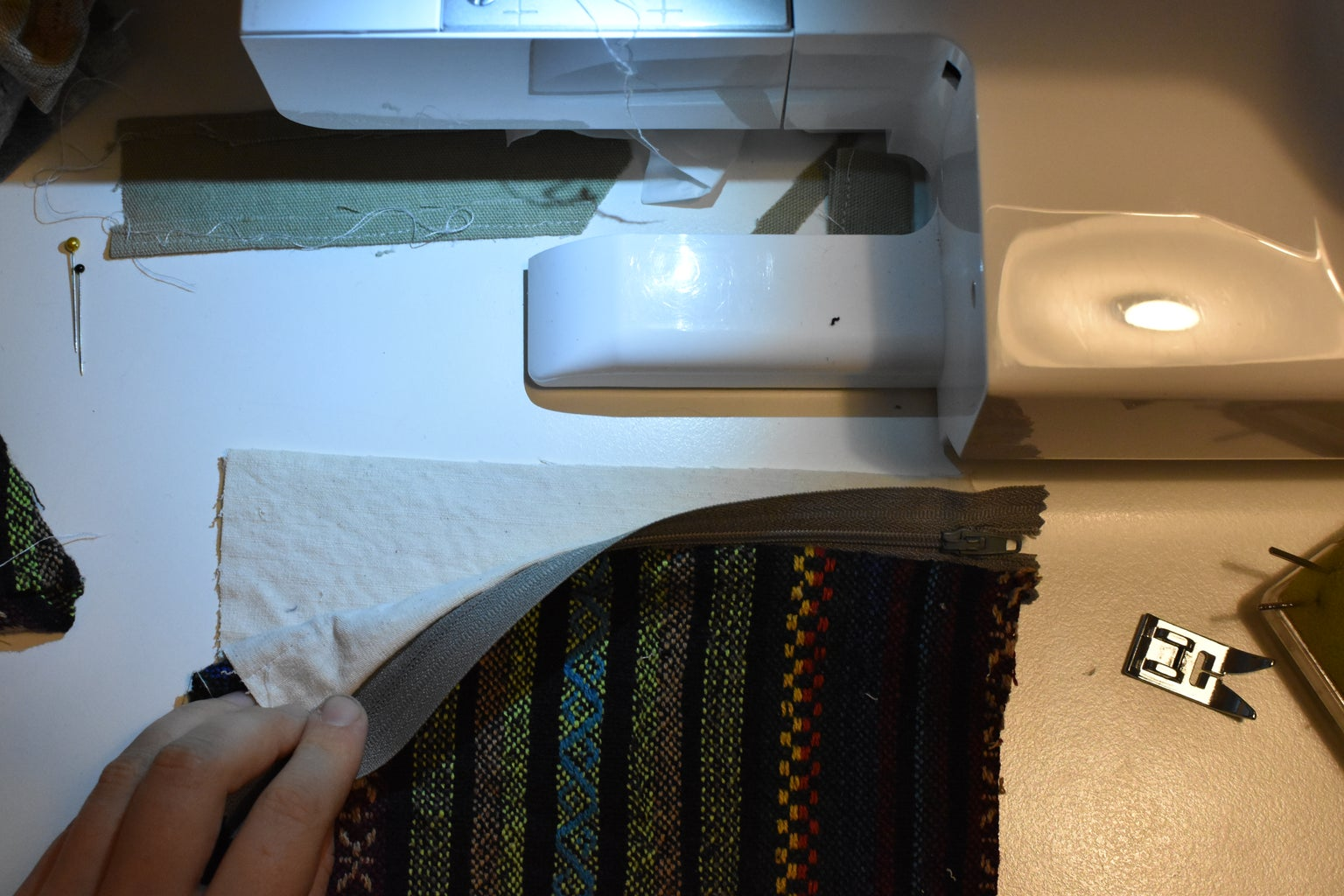 Sewing the Zipper to the Other Two Pieces of Fabric