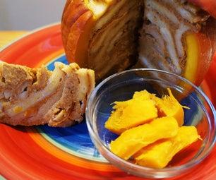 Pumpkin Pie Baked in a Pumpkin