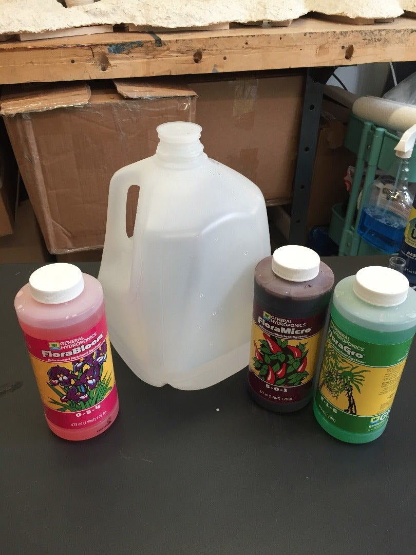Fill Planter Pot With Water, Balance PH, Add Liquid Nutrients