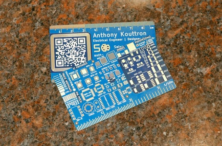 PCB Business Card Ruler With QR and NFC