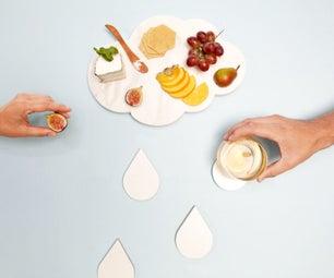 Marble Cloud Platter & Raindrop Coasters