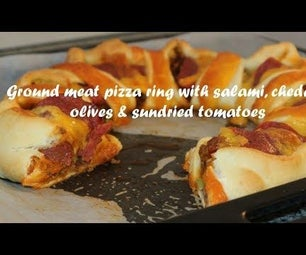 Ground Meat Pizza Ring With Salami, Cheddar, Olives & Sundried Tomatoes Recipe