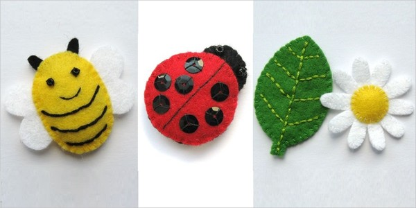 Handmade cute insects from felt fabric