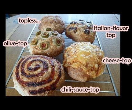 Super Easy No-Knead Cheese Bread Rolls - and other toppings