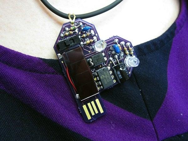 Solar Powered Heart Blinky LED Pendant Jewelry