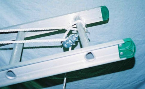 Pulley and Cleat Bolted to Top Ladder Rung
