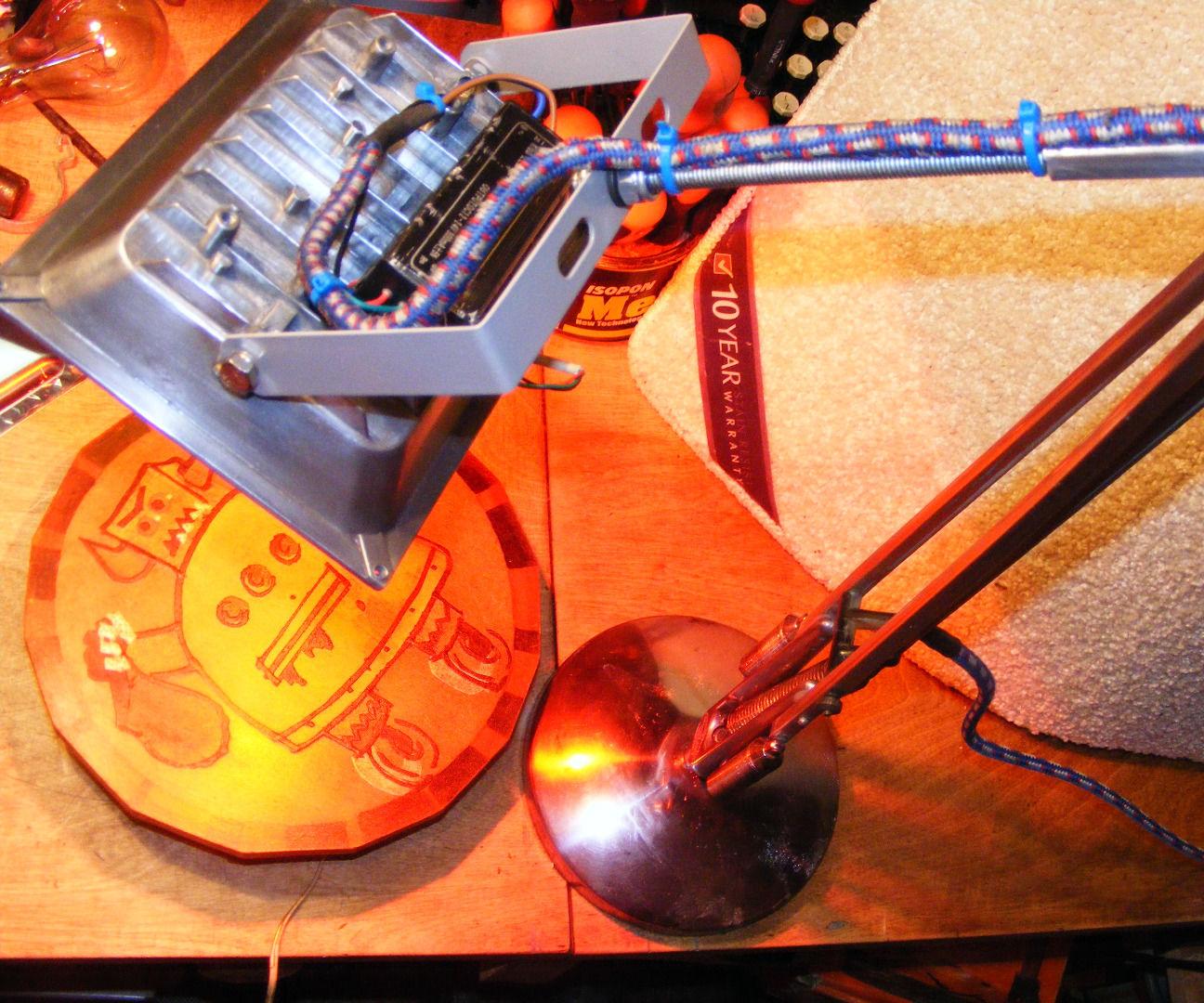 Fierce anglepoise rgb + strobe desk lamp shiny silver future retro punk party