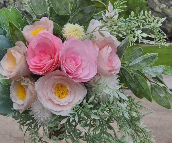 Wedding Bouquet Floral Arrangement - Paper Flowers - Coffee Filter Flowers