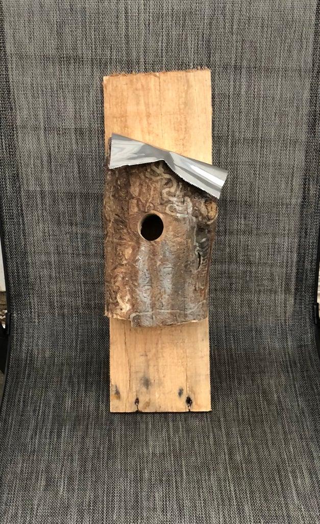 Tree Trunk / Tin Top Bird House