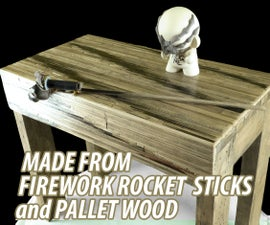 Good Luck Coffe Table Made From Fireworks Rocket Sticks and Pallet Wood