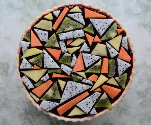 Blackberry Pie With Geometric Fruit Topping