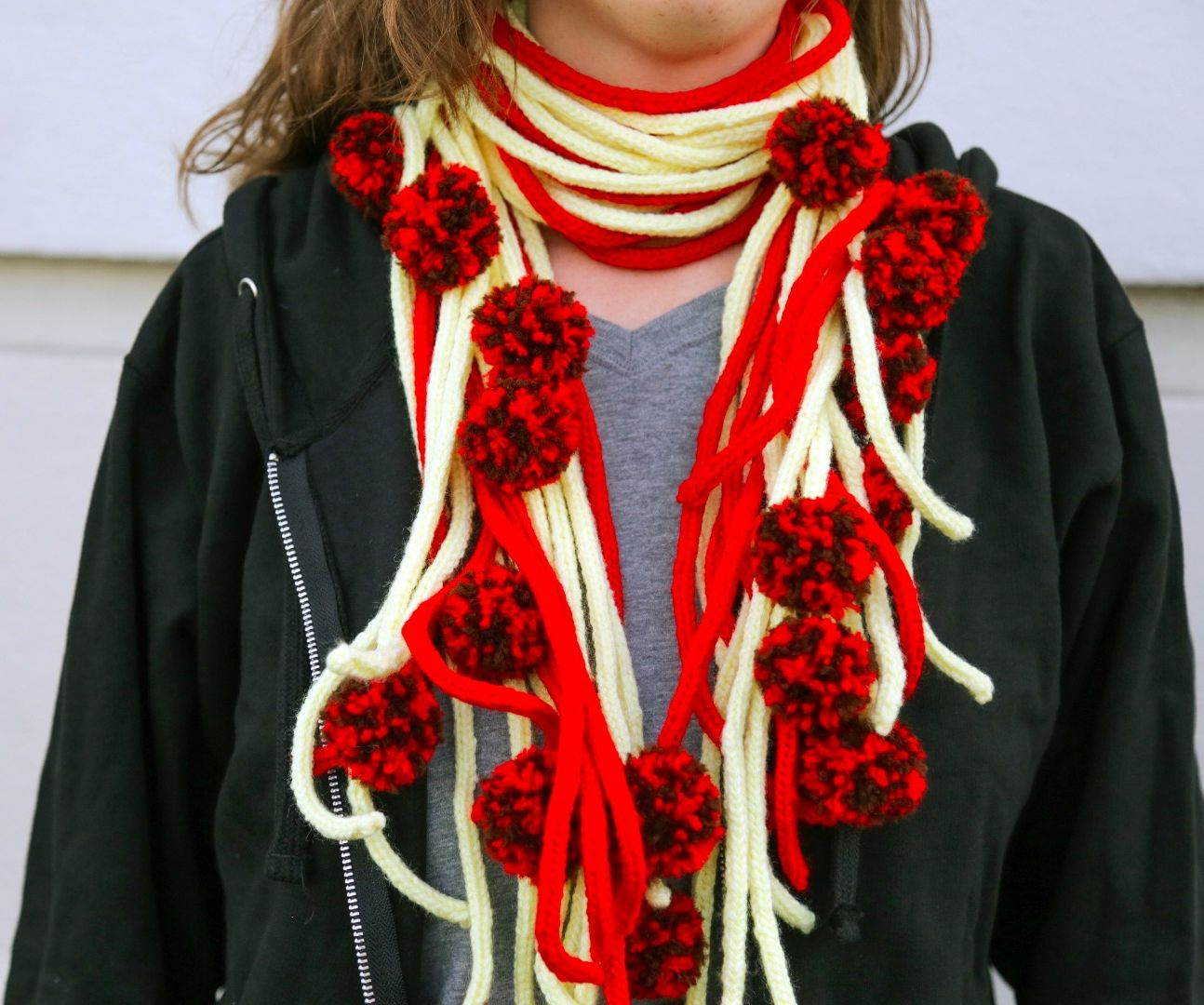 Spaghetti and Meatball Knit Scarf