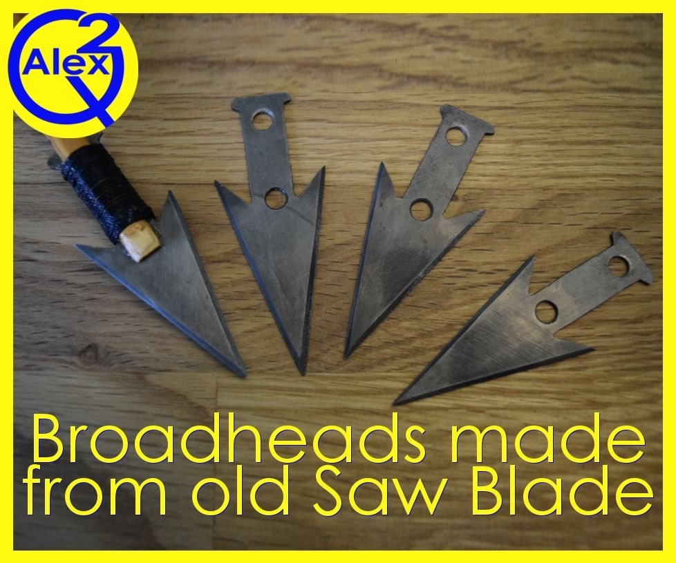 Set of Broadheads Made From an Old Saw Blade
