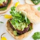 Guacamole and Roasted Poblano Burgers