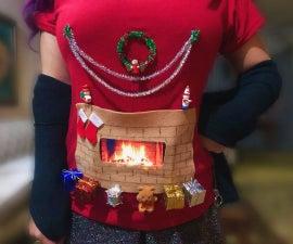 动画圣诞壁炉衬衫