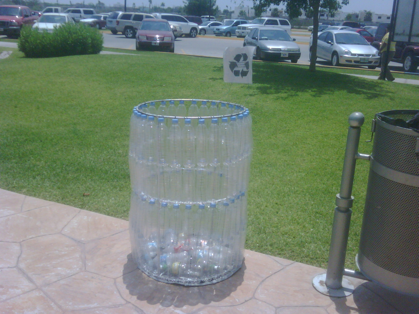 Trash can made of plastic bottles