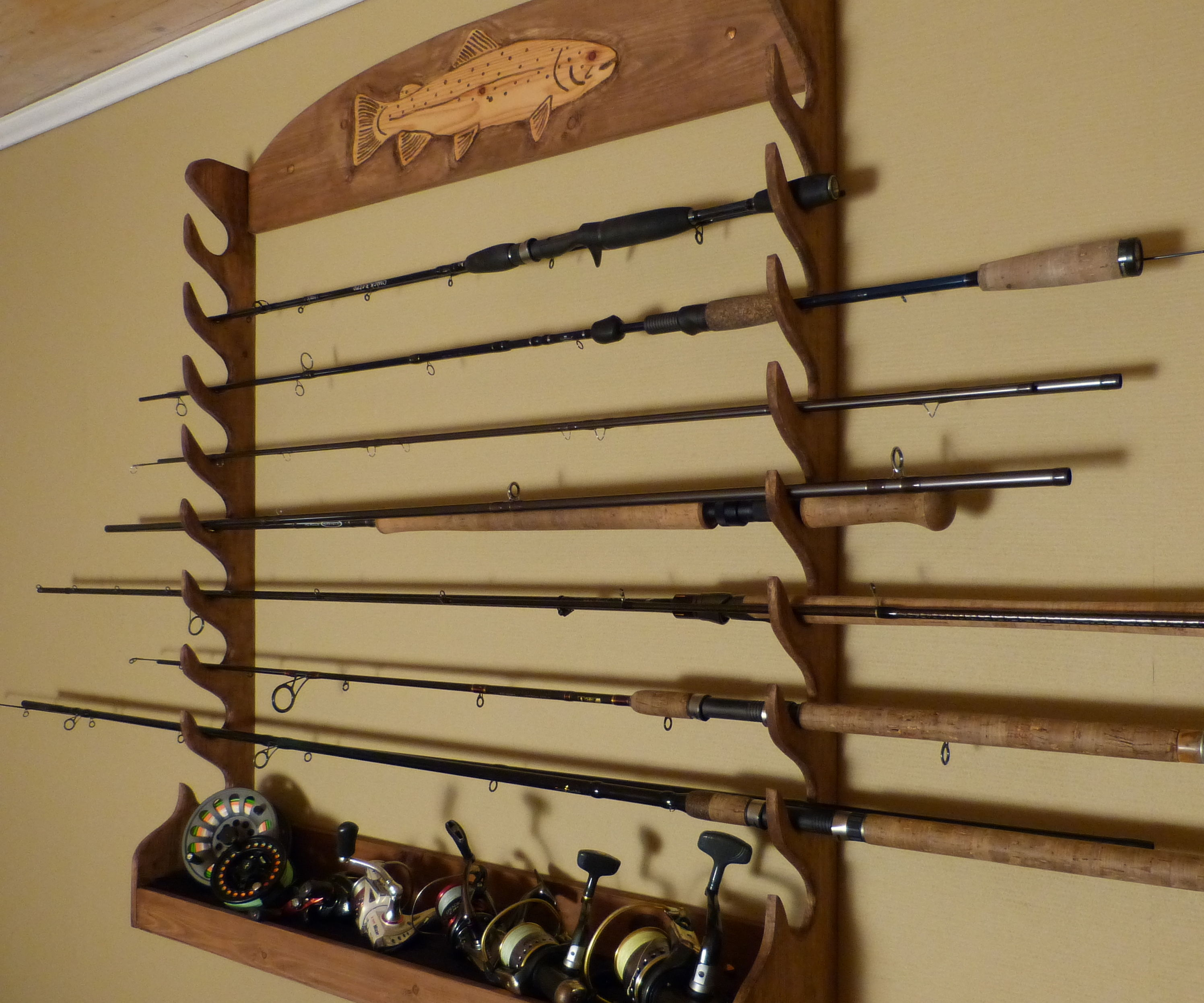 DIY Fishing Rod Storage Rack , Wallmounted