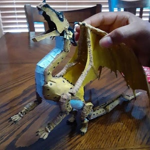 Cardboard Dragon (RainWing) With Moving Limbs, Tail, and Head With Water Spitting Teeth.