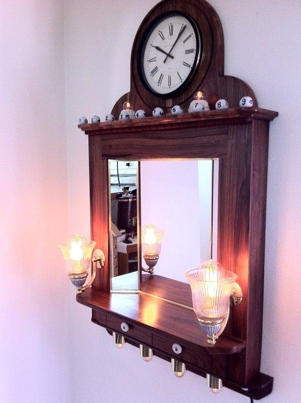 Steampunk Mirror / Light / Clock