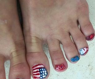 Toenail Art for Independence Day. Beginner Nail Art