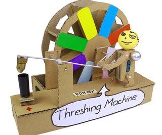 Make Mini Threshing Machine From Cardboard