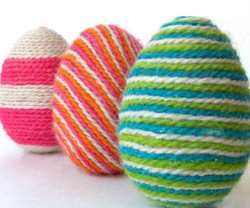 Fun Yarn Wrapped Easter Eggs