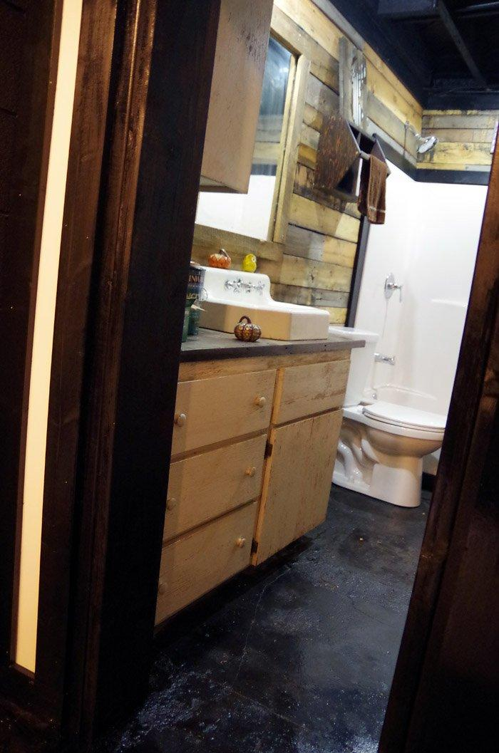 Painting Bathroom Cabinets and Pipe Hardware!