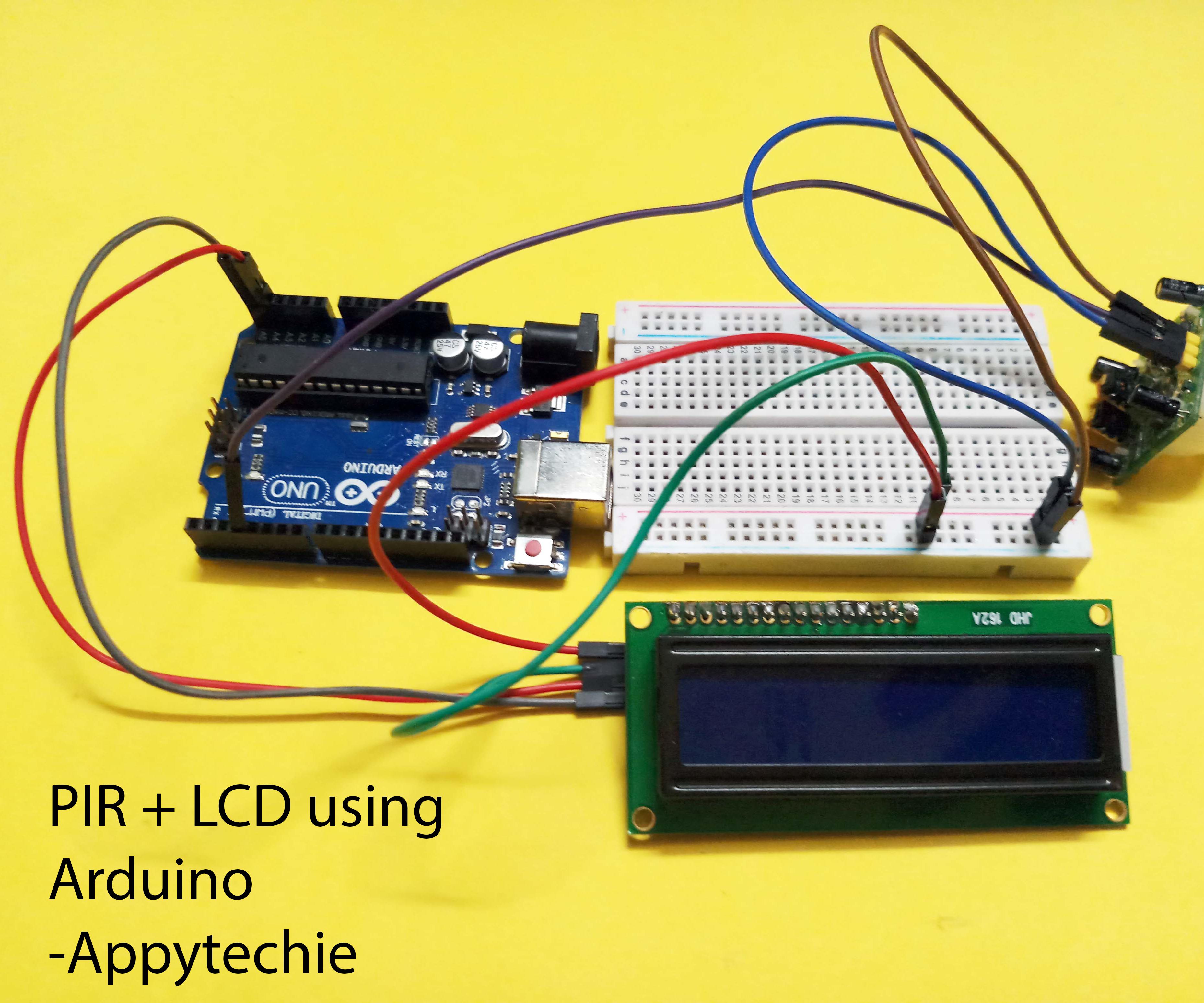 PIR + LCD Using Arduino