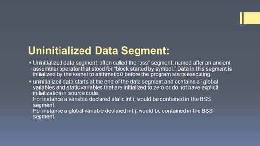 Uninitialised Data Segment