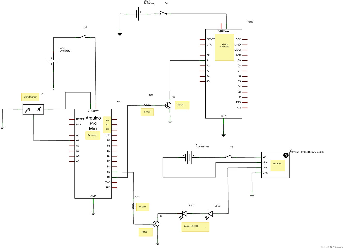 Electronics- Schematic and Code for the Boots