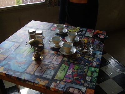 Super Table - Covered With Comic Books